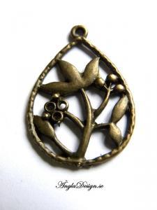 Hänge brons, droppform med växter, 3x2cm, 2st