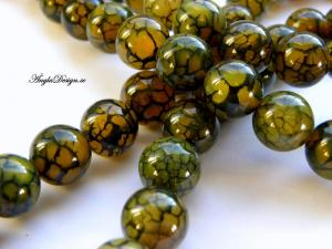 Agat rund 12mm, grön/gul , 10-pack