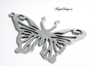 Hänge stor fjäril antiksilver, 6x4cm, 1st