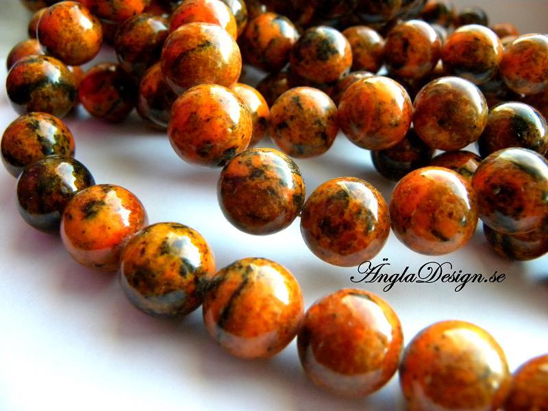 Chrysocolla rund orange/röd 12mm