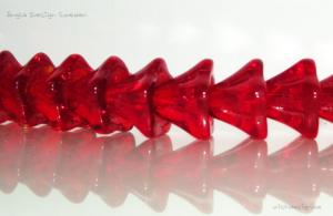 Änglakjol/blomma glas, röd 9mm liten, 5-pack
