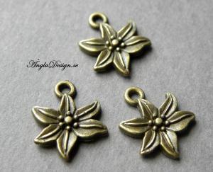 Berlock blomma lilja, brons, 10-pack