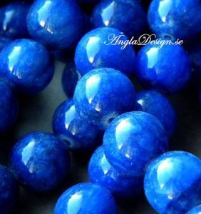 Jade rund 12mm, mörk safirblå, 10-pack
