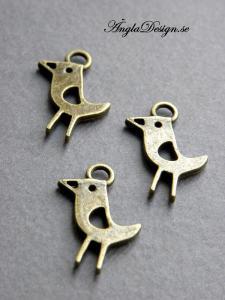 Berlock fågel brons, 3-pack