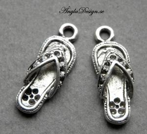 Berlock flipflop sandal, antiksilver, 2st