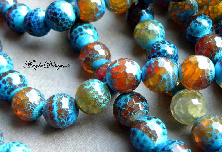 STORPACK, Eld Agat facetterad 12mm, blå/brun/orange, 29st