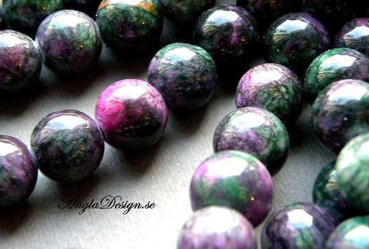 Jade flerfärgad 8mm rund, lila/grön, 20-pack
