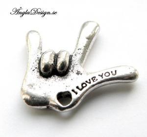 "Berlock hand ""i love you"" antiksilver, 1st"