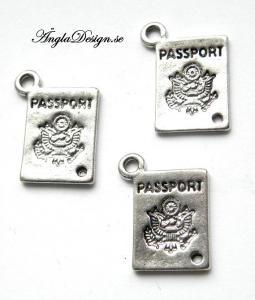 "Berlock ""Passport"" pass, antiksilver, 3st"