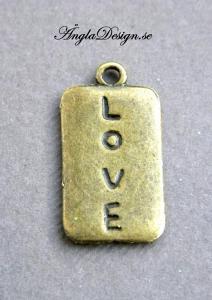 "Berlock brons, rektangel ""love"", 3st"