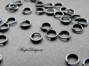 Splitringar, 5mm, svart/gunmetal, 20-pack