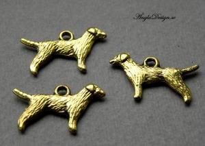 Berlock antikguld, hund / vovve 3-pack