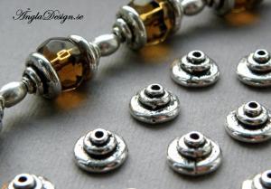 Pärlhatt antiksilver, liten bulle 8,5mm, 30-pack
