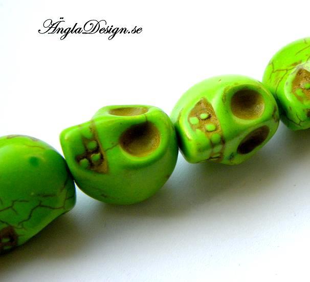 Magnesit döskalle stor, grön, 5 pack
