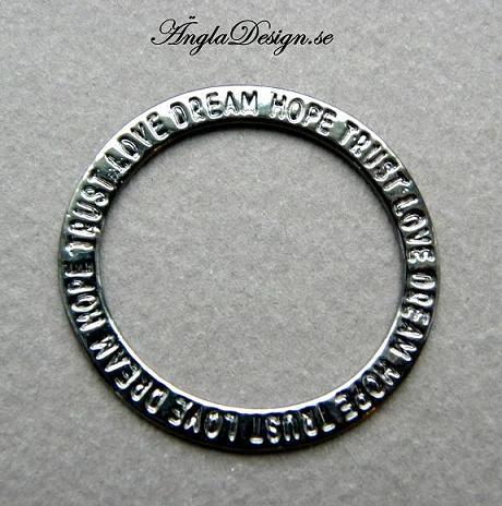 ANDRASORTERING! Ring med ord, 35mm, svart, 3st