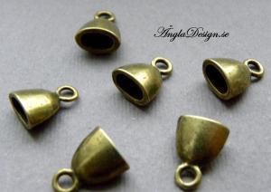 Fästen små bulliga ovala brons, 10-pack