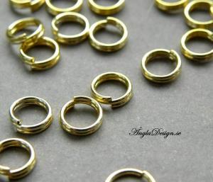 Splitringar guldfärgade, 6mm, 20-pack