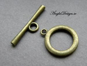 Togglelås slät brons, stort 21mm, 2-pack