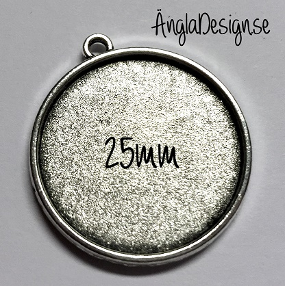 Berlock ram antiksilver, dubbelsidig slät, för 25mm, 1st