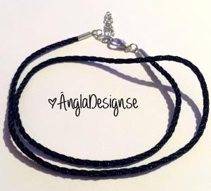 Färdigt halsband 2mm, svart, nylon, 1st