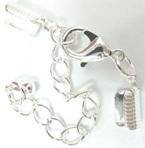 Mocka/Läder fäste inkl. förläningskedja och lås, ljust silver, 1st