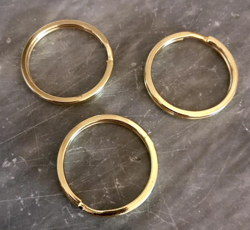 Nyckelring 25mm guldfärgade, 3-pack