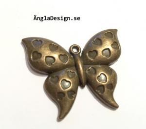 Hänge brons vacker fjäril med hjärtan, 2-pack