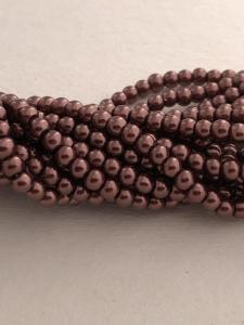Vaxade glaspärlor 4mm, brun 1 sträng