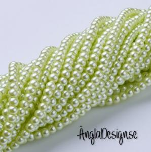 Vaxade glaspärlor 4mm, ljus grön 1 sträng