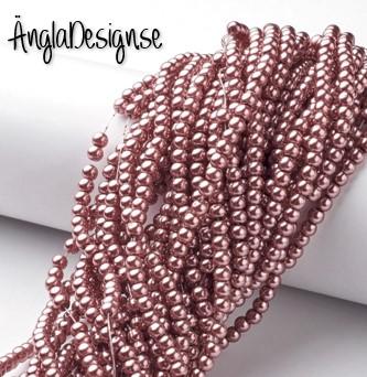 Vaxade glaspärlor 4mm, ljusbrun med lite rött i, 1 sträng