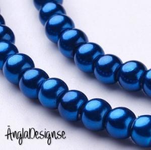 Vaxade glaspärlor 4mm, mörk petrol blå 1 sträng