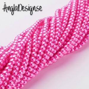 Vaxade glaspärlor 4mm, mörk rosa 1 sträng