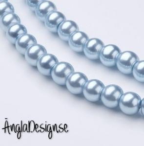 Vaxade glaspärlor 6 mm, ljusblå 1 sträng