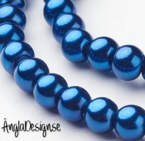 Vaxade glaspärlor 6 mm, mörk petrol blå 1 sträng