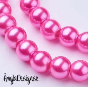 Vaxade glaspärlor 6 mm, mörk rosa 1 sträng