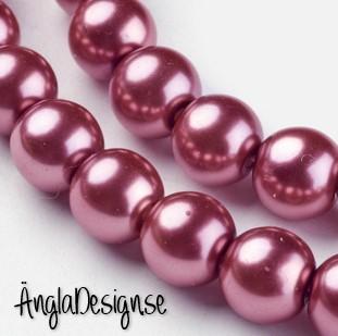 Vaxade glaspärlor 8 mm, ljusbrun med lite rött i, 1 sträng