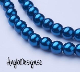 Vaxade glaspärlor 8 mm, mörk petrol blå 1 sträng
