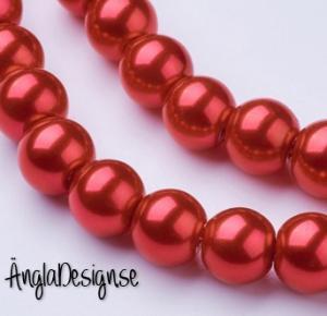 Vaxade glaspärlor 8 mm, röd 1 sträng