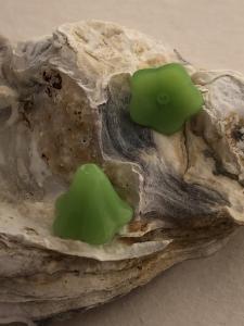 Änglakjol/blomma glas, limegrön 12mm, 5-pack