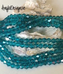 Glaspärla bicone Crystal 4mm emerald, 1 sträng