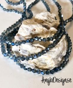 Glaspärla bicone Crystal 4mm gråblå med AB lyster, 1 sträng