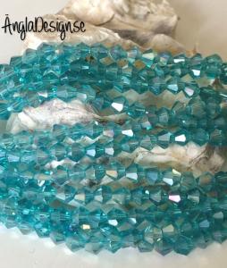 Glaspärla bicone Crystal 4mm turkos med AB lyster, 1 sträng
