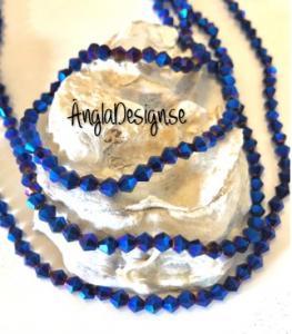 Glaspärla bicone Crystal 4mm blålila med elektropläterad lyster, 1 sträng