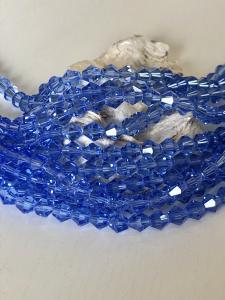 Glaspärla bicone Crystal 6mm blå, 1 sträng