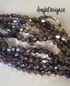 Glaspärla bicone Crystal 6mm flerfärgad med AB lyster, 1 sträng