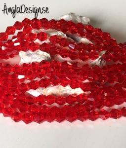 Glaspärla bicone Crystal 6mm röd , 1 sträng