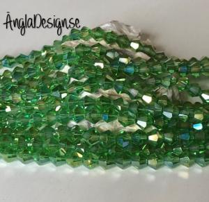 Glaspärla bicone Crystal 6mm grön med AB lyster, 1 sträng