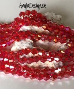 Glaspärla bicone Crystal 6mm röd med AB lyster, 1 sträng