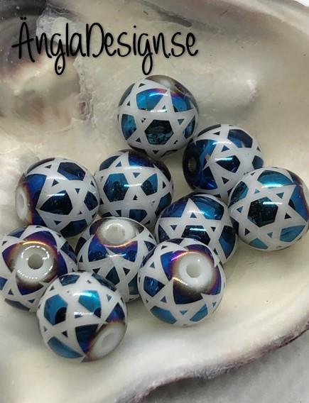 Glaspärla 8mm rund med stjärnmönster blå ,10-pack