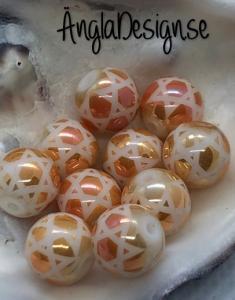Glaspärla 8mm rund med stjärnmönster gul/orange ,10-pack